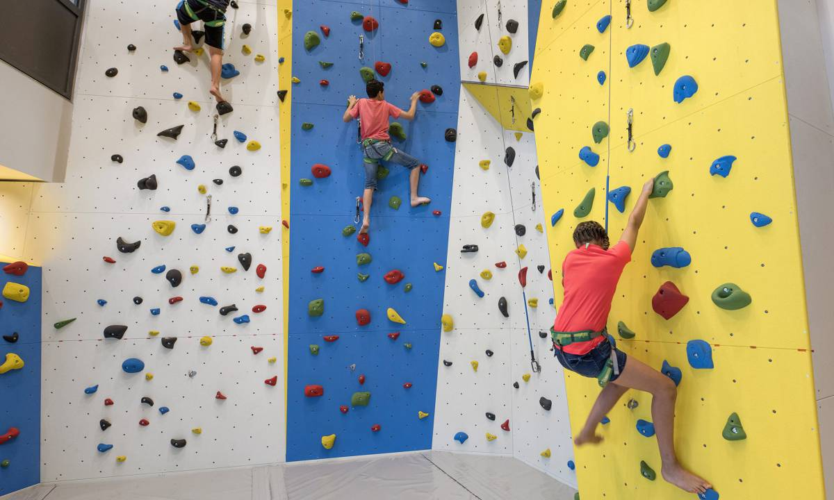 The new indoor climbing gym is an athletic highlight for guests of all ages