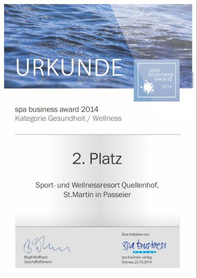 Das Medical Center Quellenhof gewinnt den zweiten Platz beim Spa Business Award