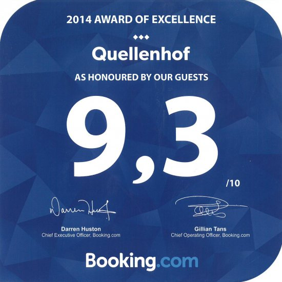 Award of Excellence by Booking.com